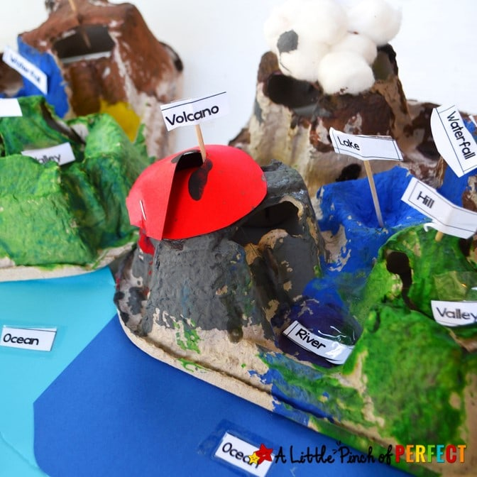 Teach children how to make a landform diorama as they learn about basic landforms during this hands on craft activity for kids. (#kidsactivities #handsonlearning #kindergarten #socialstudies #landform #diorama)