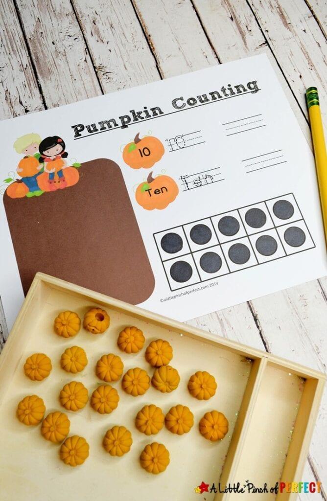 Free Printable Pumpkin Math Number Mats Kids Activity (#Math #Preschool #kindergarten #kidsactivity)