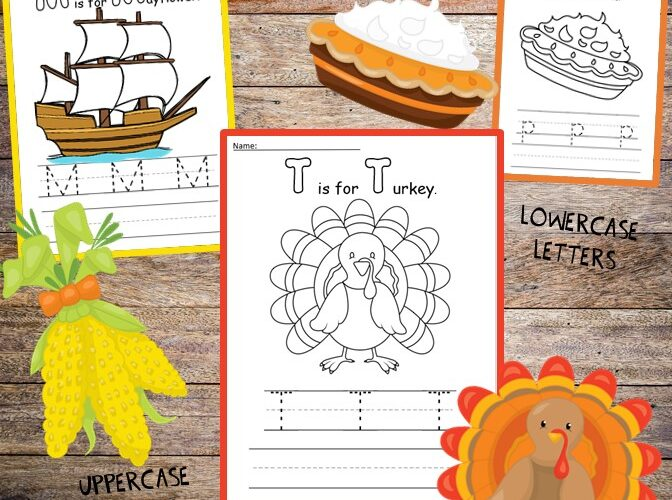 Handwriting practice and coloring pages are extra fun with a holiday theme! Print and color these free activity sheets where kids can color Thanksgiving favorites like a turkey, the Mayflower, or a pumpkin pie; then trace and write letters to practice their handwriting skills. These easy no-prep activities are print and go and great for November or even something fun to do on turkey day! #thanksgiving #kidsactivities #handwriting #printables #preschool #kindergarten #learning