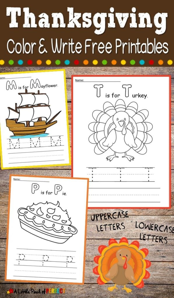 Kids can color Thanksgiving favorites like a turkey, the Mayflower, or a pumpkin pie and trace and write letters to practice their handwriting skills. (#thanksgiving #kidactivity #handwriting #printables #preschool #kindergarten #firstgrade)