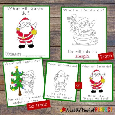 "A cute free printable Christmas book that answers the question, ""What will Santa do?"" It uses fun repetition to help children with reading comprehension and has cheerful pictures for them to color. It's just perfect for the holidays. (#preschool #kindergarten #learning #reading #christmas #kidsactivity)"