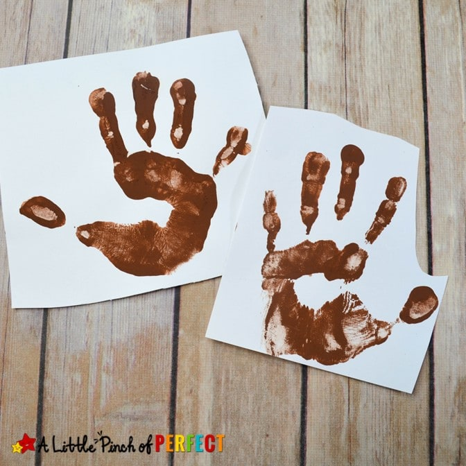 Make a Handprint Rudolph craft for Christmas with our free craft template and your child's hands. You can paint their hand or trace it out and top it off with the template for an easy Christmas craft. (#christmas #christmascraft #kidscraft #kidsactivity #rudolph)