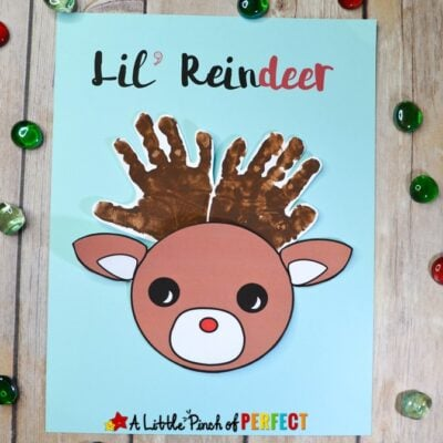 Lil' Reindeer Rudolph Handprint Christmas Craft and Free Template