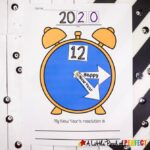 """Kids will enjoy making their own New Near's clock to celebrate New Year's. Simply print the template and let them cut, assemble, and write their New Year's Resolution. The clock hands say """"Happy New Year"""" and can be glued down or with the addition of a Metal Brad Fasteners-affiliate link, they can spin like a real clock. (#newyears #happynewyears #kidscraft #craft #newyearscraft #kidsactivity)"""