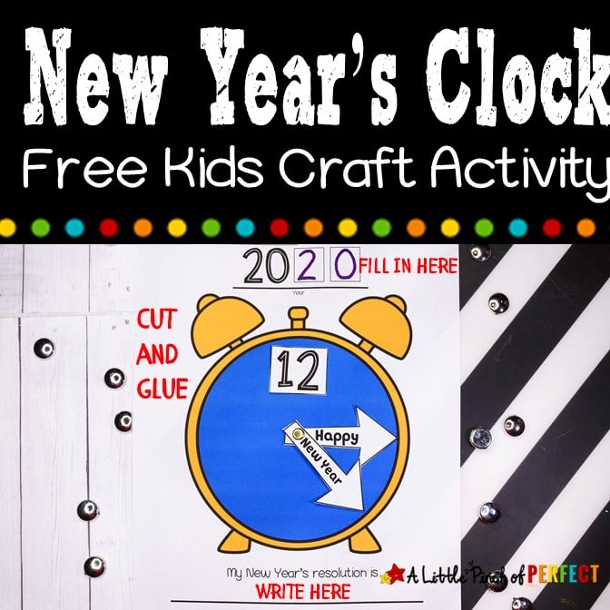 "Kids will enjoy making their own New Near's clock to celebrate New Year's. Simply print the template and let them cut, assemble, and write their New Year's Resolution. The clock hands say ""Happy New Year"" and can be glued down or with the addition of a Metal Brad Fasteners-affiliate link, they can spin like a real clock. (#newyears #happynewyears #kidscraft #craft #newyearscraft #kidsactivity)"