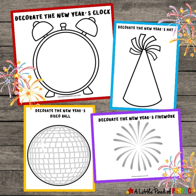 The kids will have fun this New Year's with these Free Printable Playdough Mats. As your kids wait for the New Year they can play and be creative making fireworks, party hats, disco balls, and more. (#newyears #newyearseve #kidsactivity)