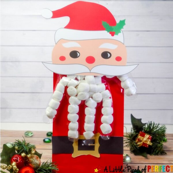 Santa Christmas Treat Bags: Free Printable Glove Topper-- Simply print the template, fill a glove to make Santa's beard, and assemble to make a one of a kind Santa Treat Bag! You can add a paper bag to include extra treats too. (#christmas #christmastreats #christmascrafts #kidsactivity)