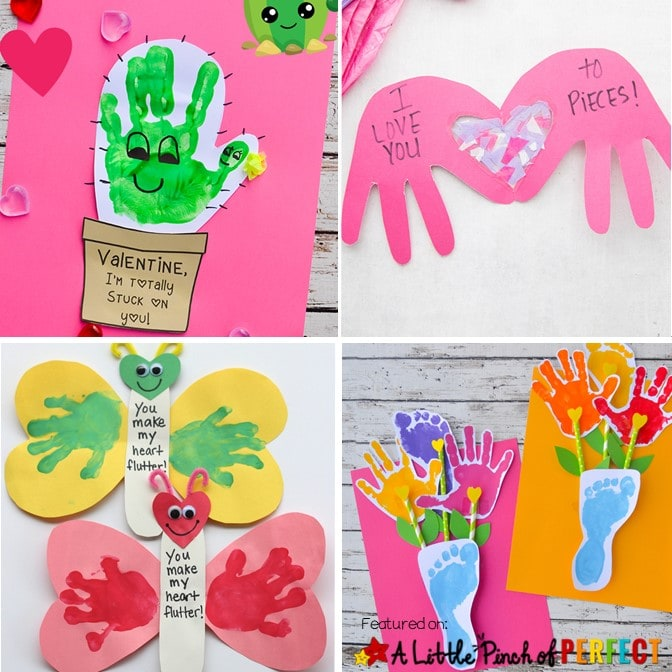"Make homemade Valentine's Day cards with kids with these adorable handprint craft ideas including an ""I'm Stuck on You Cactus,"" a ""You Make My Heart Flutter Butterfly,"" an ""Owl Always Love You Owl,"" and more. (#valentinesdaycard #valentines #craft #kidscraft)"