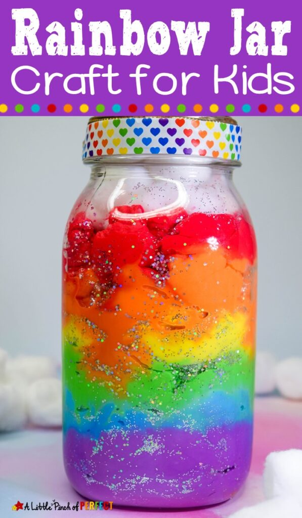 Follow these easy directions to make a Rainbow Jar with kids or anyone who loves rainbows (teens, and adults included). The rainbow jars look beautiful. This craft is perfect for spring, including in a science weather unit, learning about absorption, or having some St. Patrick's Day fun. (#kidscraft #kidsactivity #craft #masonjar #stpatricksday)
