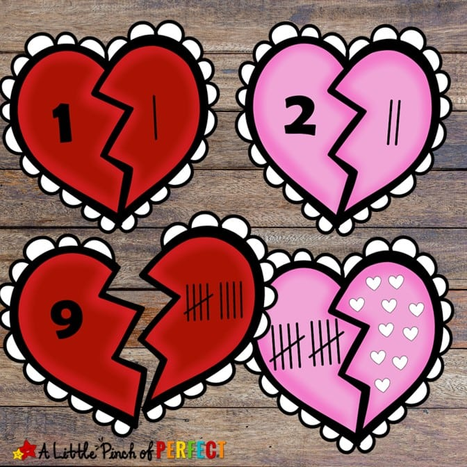 Kids can learn to count, identify numbers, and subitize with this cute set of Valentine Heart Number Puzzles. The printable includes 3 sets of hearts that include numbers 1-10. They are perfect for any preschooler or kindergartner who is learning their numbers. (#preschool #kindergarten #math #kidsactivity #printable #valentinesday)