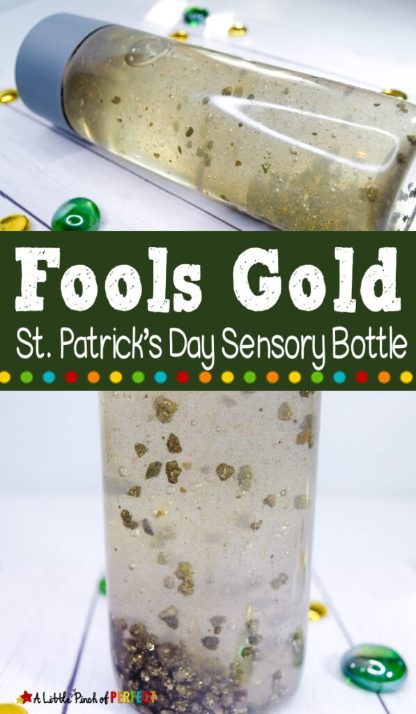 Fools Gold Sensory Bottle: Make a St. Patrick's Day Fools Gold sensory bottle that kids will love to shake and swirl the gold at a hypnotizing speed. (#stpatricksday #kidsactivity #sensorybottle #preschool #toddler)