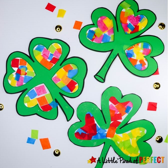 Kids will have fun making a shamrock filled with rainbow colors using our free craft template, tissue paper, and creativity. It's a perfect craft activity for kids to make this St. Patrick's Day. (#Stpatricksday #kidscraft #craft #kidsactivity #toddleractivity #preschool)