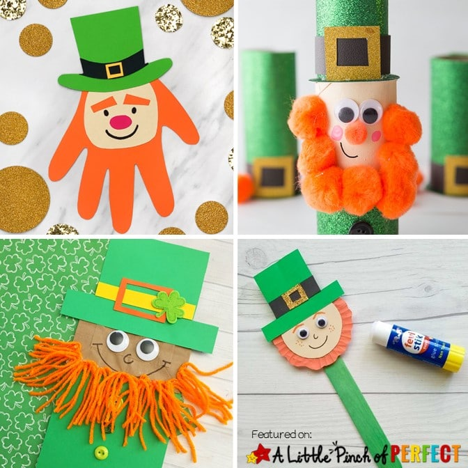 Have a fun St. Patrick's Day with this collection of Leprechaun crafts for kids to make. You will find all sorts of ideas including paper plate crafts, cardboard tube crafts, popsicle stick crafts, and paper crafts. #stpatricksday #craftsforkids #crafts #kidsactivities #toddleractivities #preschool