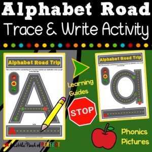 Alphabet Road Letter Mats: As students race around each track, they will practice letter identification and letter formation. Each track has green dots to guide children where to start, arrows to point them in the right direction, and stop signs to help them know when they have reached the end. (#preschool, #kindergarten #alphabet #homeschool #kidsactivity)