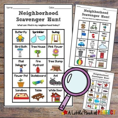 Neighborhood Scavenger Hunt Free Printable Fun for Kids: Grab the kids, take a walk, and have some fun in your own neighborhood with three printable scavenger hunts. #kidsactivity #play #fun