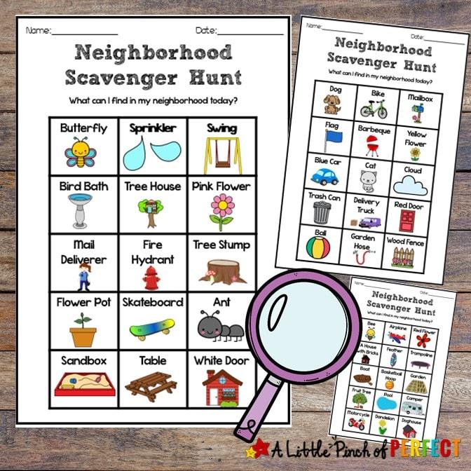 Neighborhood Scavenger Hunt Free Printable Fun for Kids: Grab the kids, take a walk, and have some fun in your own neighborhood with three printable scavenger hunts. #kidsactivity #play #fun