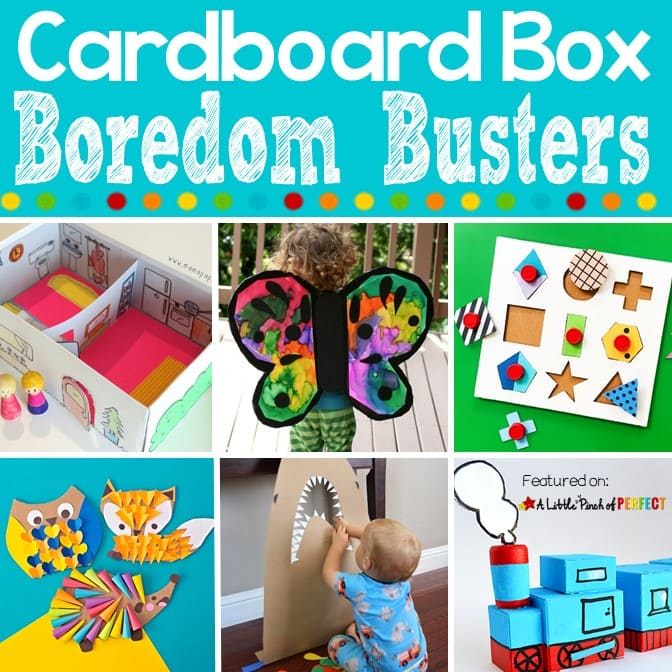 Clever Cardboard Box Boredom Buster Kids Activities: Entertain the kids with these 50+ cardboard box activities (#kidsactivity #crafts #boredombuster)