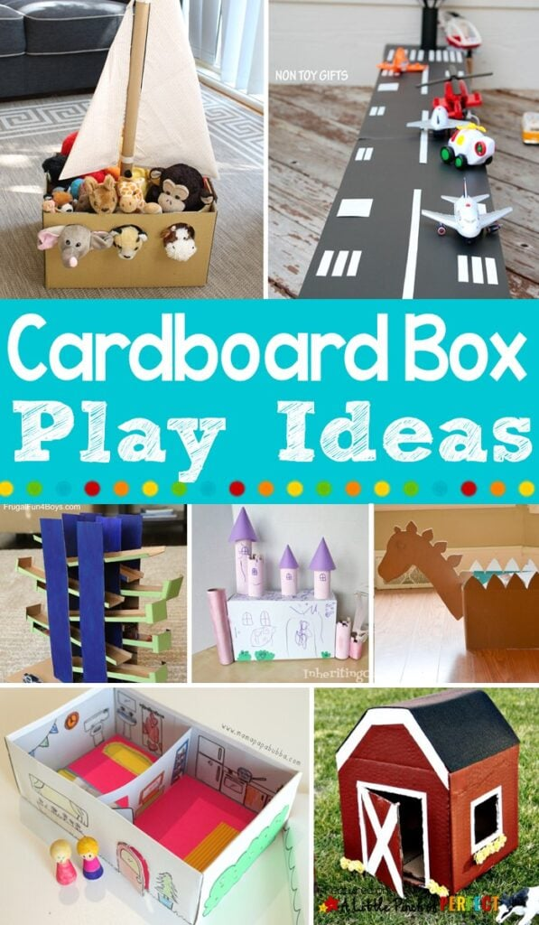 Clever Cardboard Box Boredom Buster Kids Play Activities: Entertain the kids with these 50+ cardboard box activities (#kidsactivity #crafts #boredombuster)