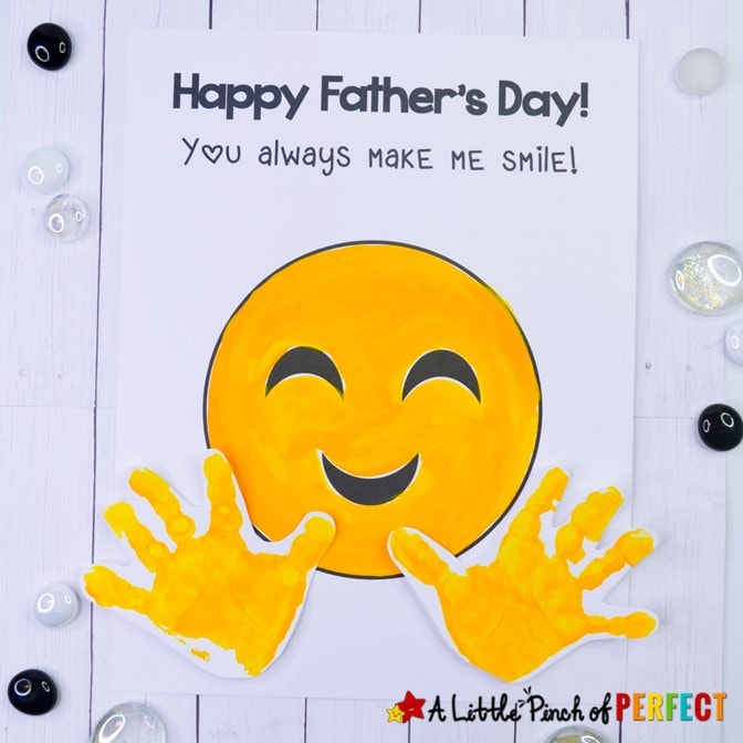 Father's Day Emoji Handprint Craft and Free Template: A cute and easy craft for kids to make for their Dad. (#fathersday #kidscraft #craft)