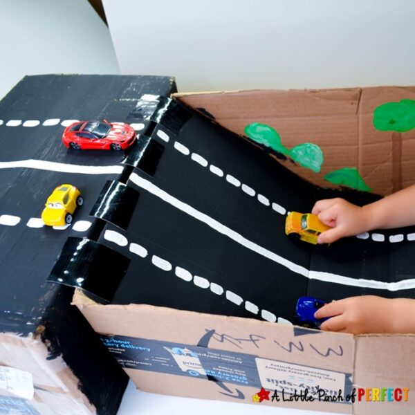 How to Make a Cardboard Box Car Ramp: It's an easy recycled DIY project for kids to play with (#kidsactivity #toycars #cardboardbox)