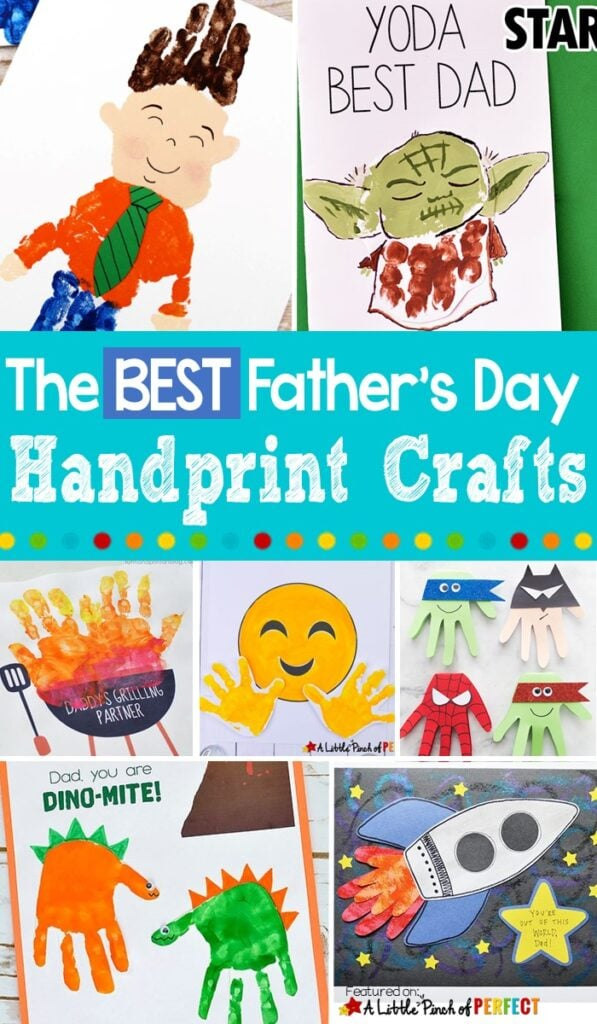 The Best Father's Day Handprint Crafts: Cute and easy ideas for kids to make for Dad on Father's Day (#kidscraft #craft #fathersday)