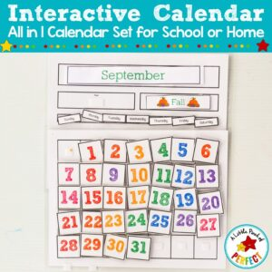 Interactive Calendar for Kids: Print and assemble to teach kids days of the week, months, years, and holidays. #homeschoom #preschool #kindergarten