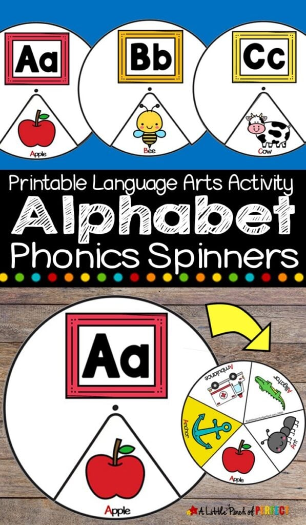Alphabet Phonics Spinners: If you are at home or school this set of Alphabet Phonics Spinners makes learning letter sounds fun and engaging. (#Phonics #kidsactivity #homeschool #preschool #kindergarten #alphabet)