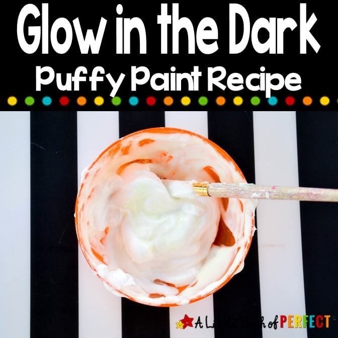 This easy DIY Glow in the Dark paint recipe will have your kids artwork glowing in no time! #glowinthedark #kidsactivity #paint