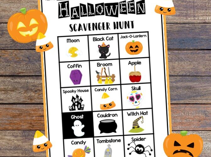 Send the kids on a scavenger hunt this Halloween to find everything from candy, pumpkins, and more with this free printable activity. #halloween #kidsactivity #scavengerhunt