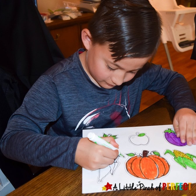 Kids can decorate their own cornucopia this Thanksgiving with our free craft template that comes in a craft style, writing activity, or coloring page version. #thanksgiving #kidscraft #kidsactivity #craft