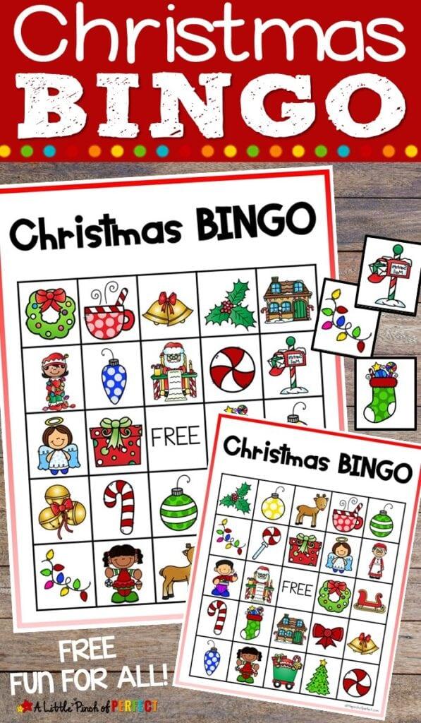 Christmas BINGO Free Printable Game for Family Fun: This game is fun for kids and adults to play together all Christmas season. (#bingo #Kidsactivity #Christmas #Familyfun)