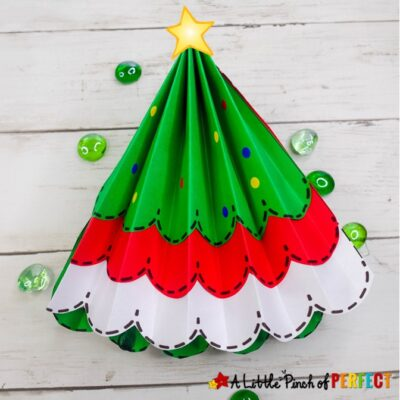 Paper Accordion Fold Christmas Tree and Free Template for Kids