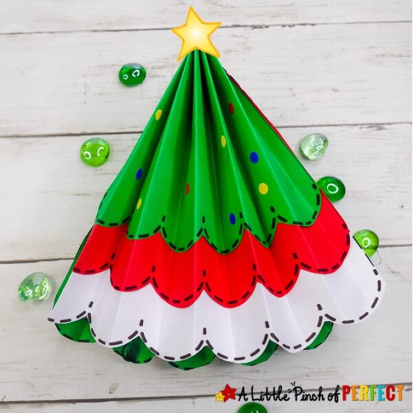 Paper Accordion Christmas Tree and Free Template for Kids: Kids can make a pretty folded paper Christmas Tree craft with our easy step-by-step directions and free template. (#christmas #kidscraft #craft #papercraft #christmastree #kidsactivity)