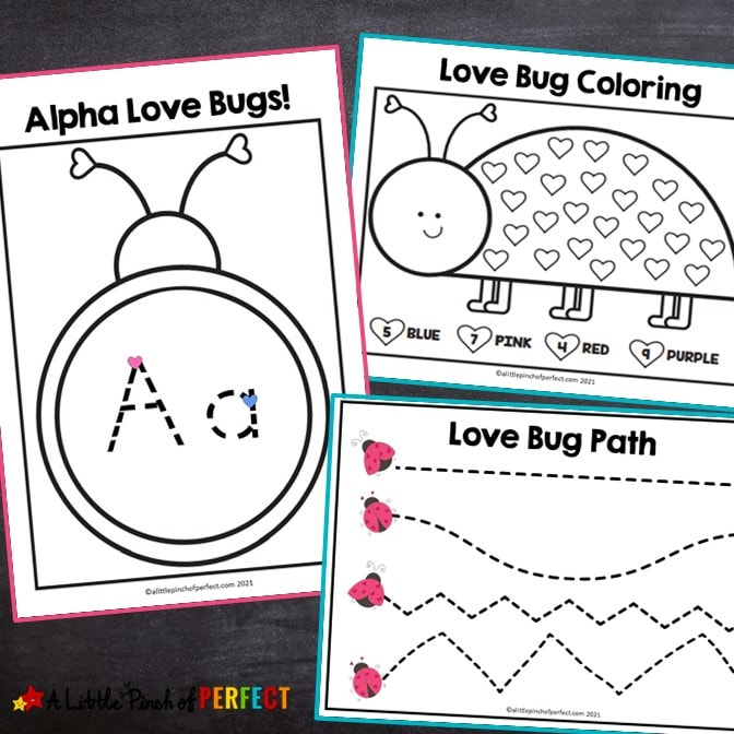Love Bug Free Printable Valentine Activity Pack: Kids will LOVE the activities in this Love Bug Valentine Activity pack that includes math, language arts, coloring pages, writing, and more! #Valentinesday #kidsactivity #printable #preschool