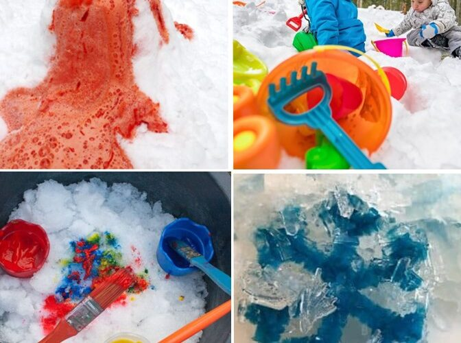 Snow Activities Kids Will Love this Winter: Enjoy some winter fun with these simple snow activity ideas for kids like snow paint, snow crafts, snow recipes, and snow play. #kidsactivity #preschool #daycare #snow