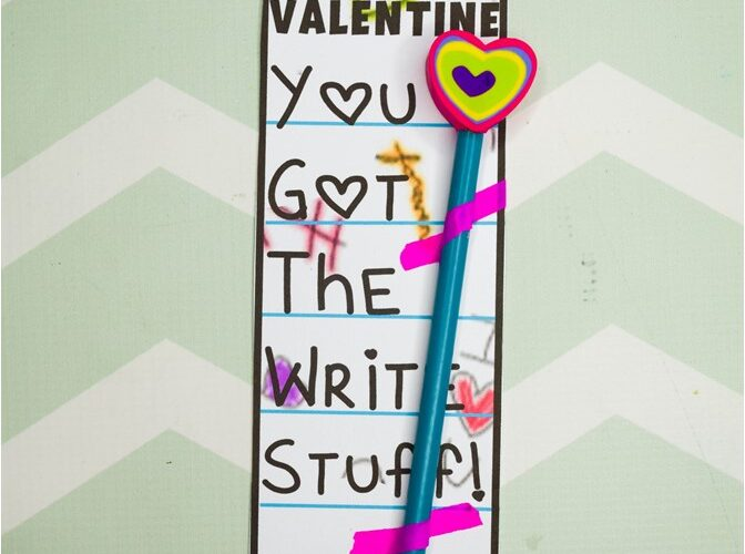 """""""You Got the Write Stuff"""" Valentine's Pencil Card Free Printable: Kids can tell their Valentine they, """"Got the Write Stuff,"""" and attach a pencil or pen to match the funny pun. It's the Perfect non-candy gift for school classroom gifts, church, or other card exchanges. (#Valentinesday #Valentinesdaycard)"""