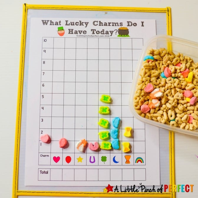 Lucky Charms Graphing Free Printable Math Activity for Kids: Teach children how to graph with Lucky Charm cereal using our ready-to-use printable graphs. 5 to choose from. #Math #stpatricksday #homeschool #kidsactivity