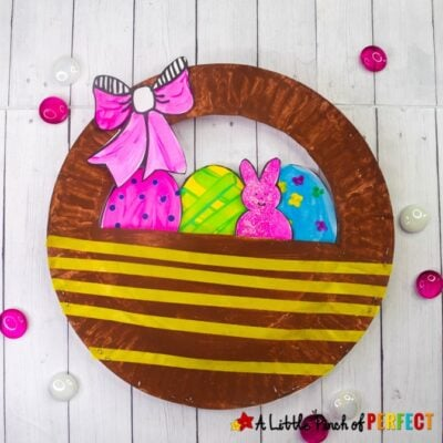 Easter Basket Paper Plate Craft for Kids and Free Template