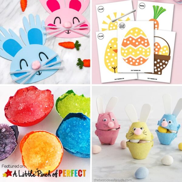 Your children are sure to have fun celebrating Easter with these adorable and super creative Easter Activities, Crafts, Printables, and Play Ideas. #Easter #kidsactivity