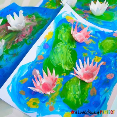 Water Lily Art with Egg Carton Flowers for Kids
