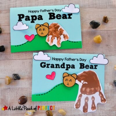 Papa Bear Handprint Father's Day Free Craft Template