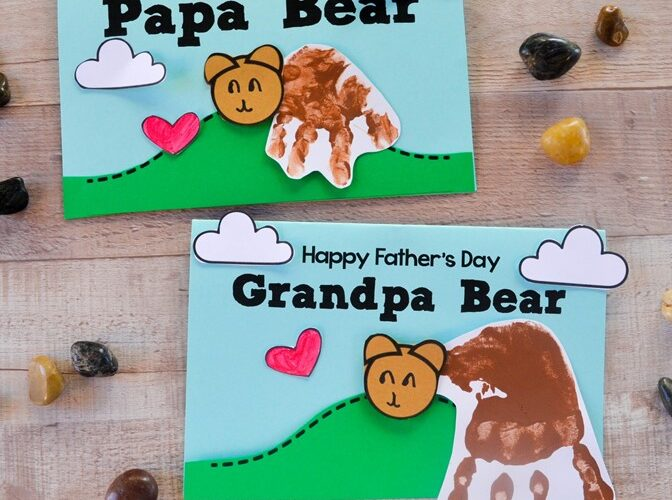 Children can make a cute Papa Bear handprint card with our free craft template and step-by-step directions for Father's Day. #fathersday #card #kidsactivity #kidscraft