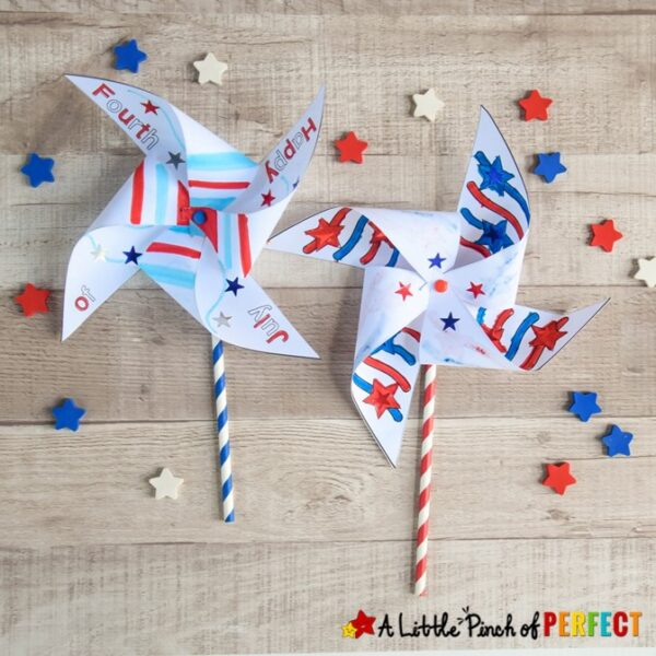"""Download and print our free Fourth of July Pinwheel craft for your kids to color, decorate, and put together. The download includes 3 templates including stars, stripes, and the phrase, """"Happy Fourth of July."""""""