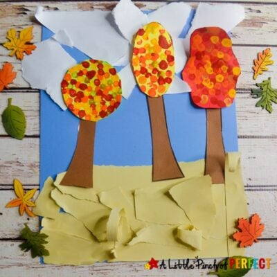 Fall Tree and Painted Leaves Kids Craft and Free Template