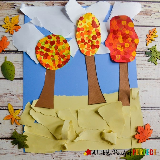 Fall Trees Kids Craft and Free Template: Children can make colorful autumn trees using our free template, printable directions, and video tutorial. #kidscraft #craft #preschool #kindergarten