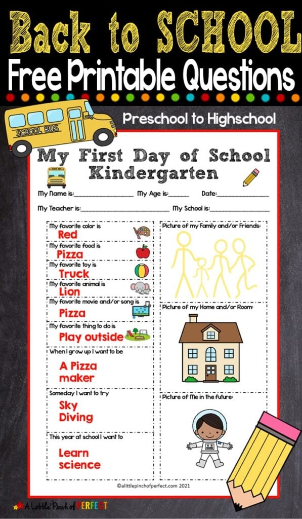 Children will have fun answering questions about themselves with this First Day of School printable Interview questionnaire. It's the perfect way for students to get to know each other for grades preschool to highschool. #backtoschool #firstdayofschool #homeschool
