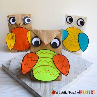 Owl Paper Bag Kids Craft Template