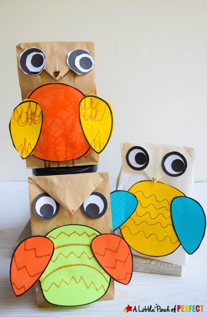 Paper Bag Owl Craft for Kids and Template Brown paper bag and white paper bag