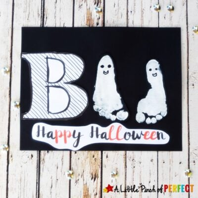 Ghost Footprint Halloween Kids Craft and Free Template