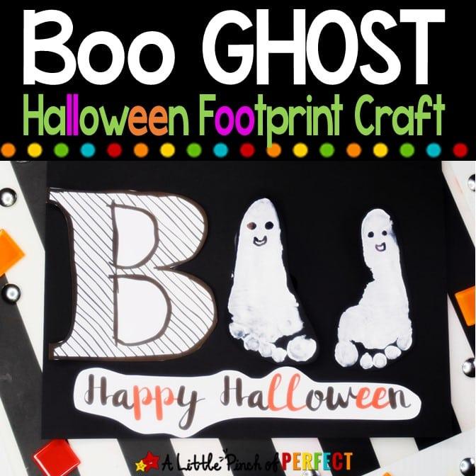 Boo Ghost Halloween Footprint Craft